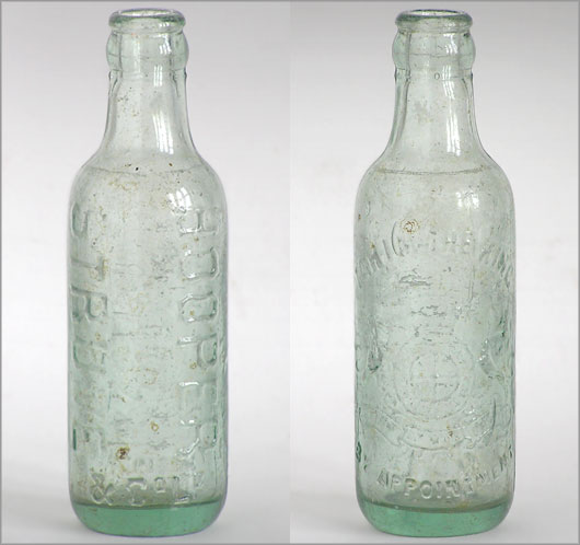 Early-1900s vintage glass mineral water bottle: Hooper Struve & Co