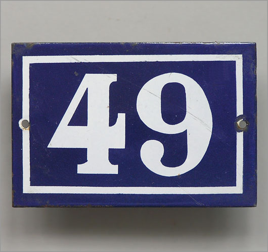 Vintage blue French enamel door number plaque '49'