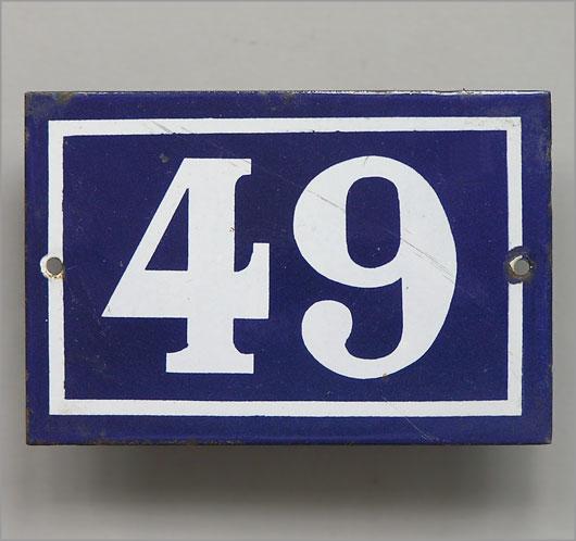 Vintage blue French enamel door number plaque u002749u0027 & The Vintage Wall™ - Blue French enamel door number plaque u002749u0027