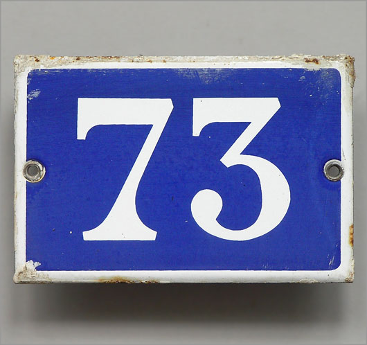 Vintage blue French enamel door number plaque '73'