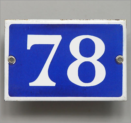 Vintage blue French enamel door number plaque '78'