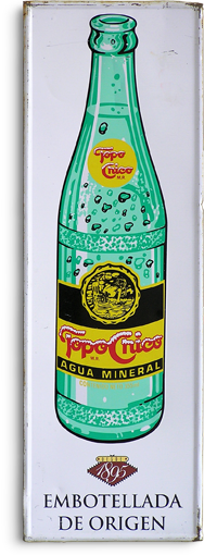 1980s tin advertising sign: Topo Chico mineral water