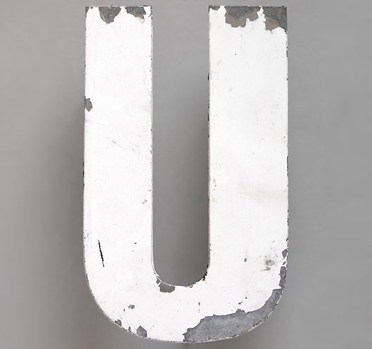 Mid-1900s spelter metal store sign letter 'U'