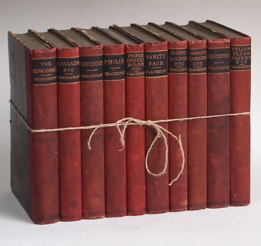 Stack of 10 Victorian novels, W. M. Thackeray, 1886-8
