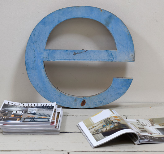 Extra-large lowercase vintage metal sign letter 'e'
