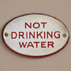 1920s oval enamel sign: Not Drinking Water