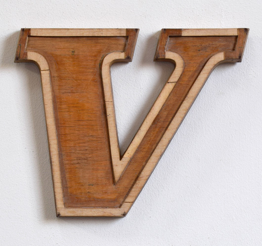 Mid-1900s wooden letter mould: 'V', 19.5cm