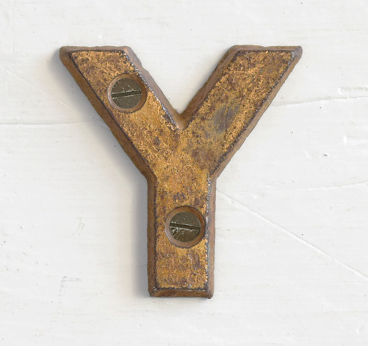 Antique Victorian painted gold iron sign letter: Y