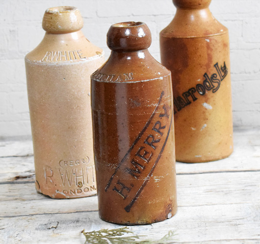 Antique stoneware ginger beer bottle: H. Merry, c. 1900