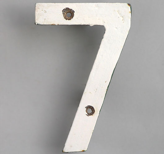 Vintage Victorian cast iron white railway sign number '7'