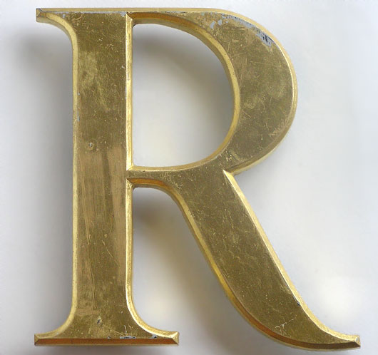 Vintage gold gilt ex-pub sign letter 'R', late-1900s