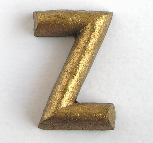 Gold shop display sign letter 'Z', c. 1930s