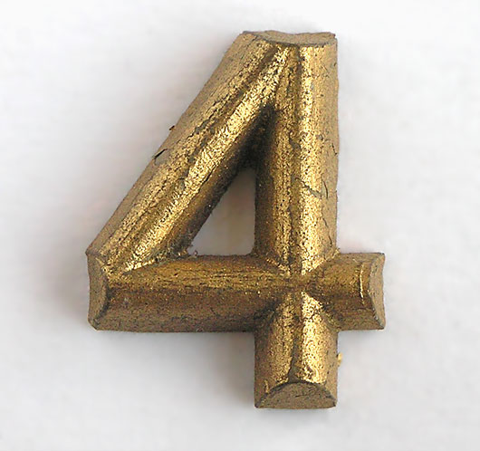 Vintage Gold shop display sign number '4', c. 1930s