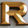 Extra-large gold gilt pub sign letter 'R', early 1900s