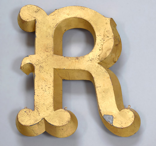 Antique French gold-leaf trompe l'oeil display letter 'R'