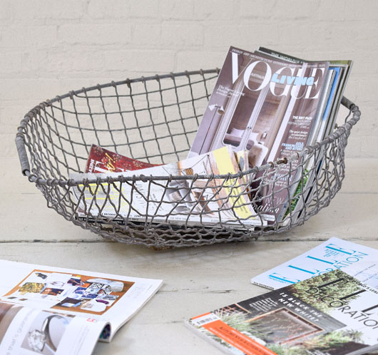 Large heavy-duty vintage oval wire basket