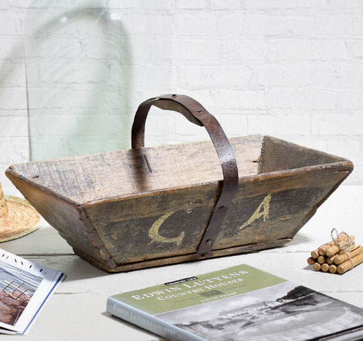 Antique French painted wood and iron trug, c. 1900