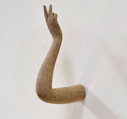 19th-century antique French paper mache arm