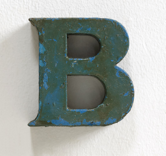 Small vintage painted metal letter 'B'