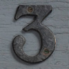 Small antique iron sign number '3'