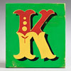 Painted wooden sign letter plaque: K
