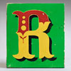 Painted wooden sign letter plaque: R