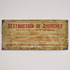 Antique tinplate sign: Destruction of Churches