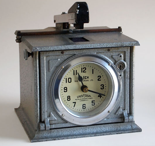 1920s vintage industrial clocking-in clock, Blick, London
