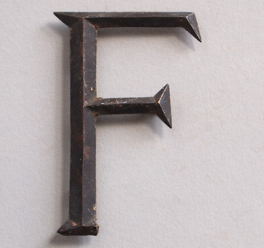 Early-1900s vintage brass company sign letter 'F'