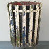 Early-1900s painted wood and iron park litter bin