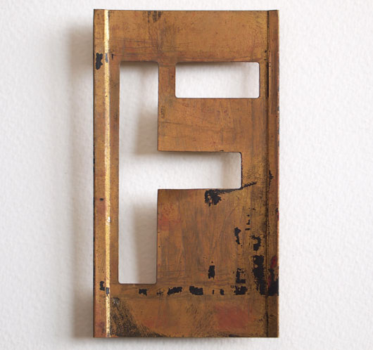 Early-1900s vintage brass plate letter stencil: 'F'