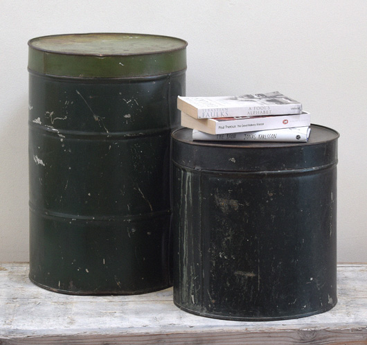 Pair of large green vintage storage tins, early 1900s