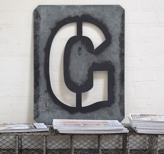 Large antique signwriter's zinc letter stencil 'G'