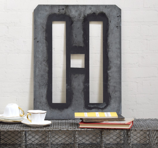 Large antique signwriter's zinc letter stencil 'H'