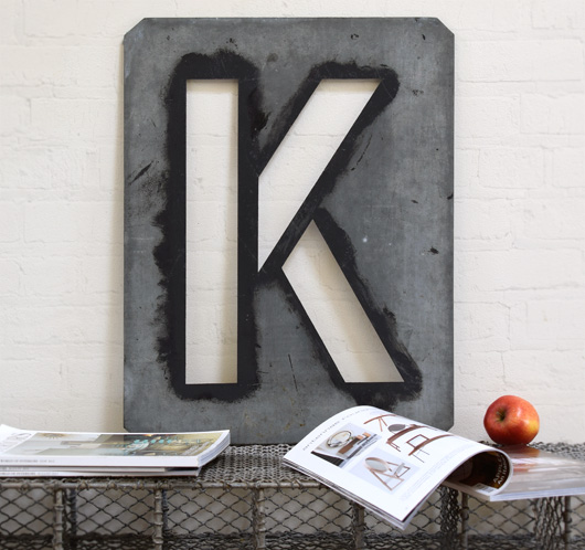 Large antique signwriter's zinc letter stencil: K