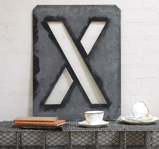Large antique signwriter's zinc letter stencil 'X'