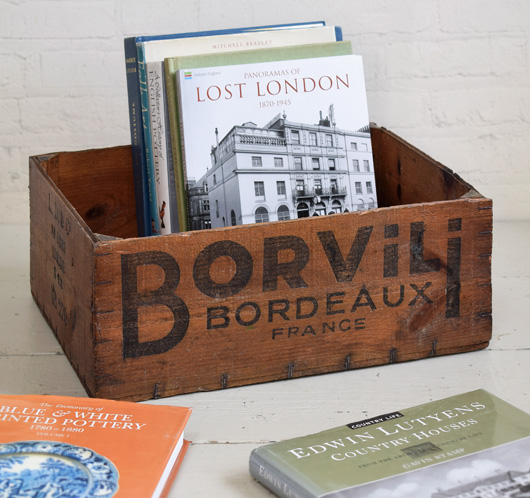 Early-1900s vintage French wooden crate: Borvili