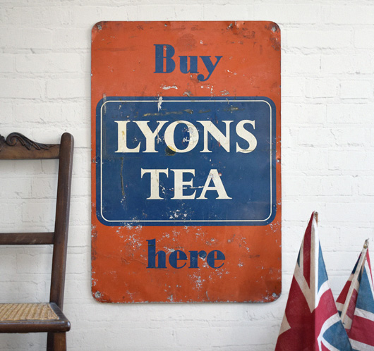 Large 1950s vintage tinplate advertising sign: Buy Lyons Tea Here