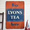 Large 1950s tinplate sign: Buy Lyons Tea Here