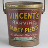 Rare Victorian advertising bucket: 'Vincent's Harvino Dainty Pieces' Toffee