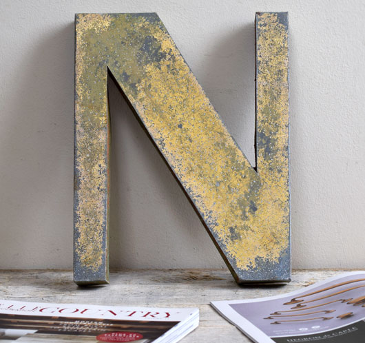 Vintage French gold-gilt zinc sign letter 'N'