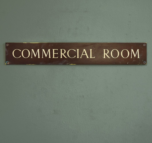 1920s antique brass and enamel sign: Commercial Room
