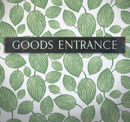 1920s antique brass and enamel sign: Goods Entrance