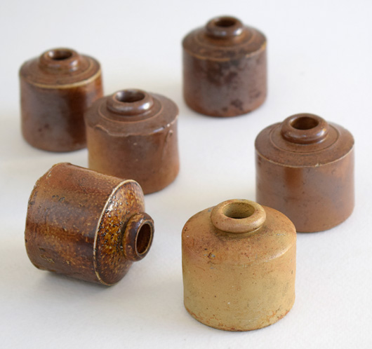 Suite of antique Victorian stoneware ink bottles