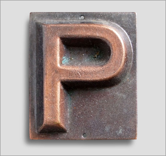 Small embossed brass door sign letter 'P', c. 1900