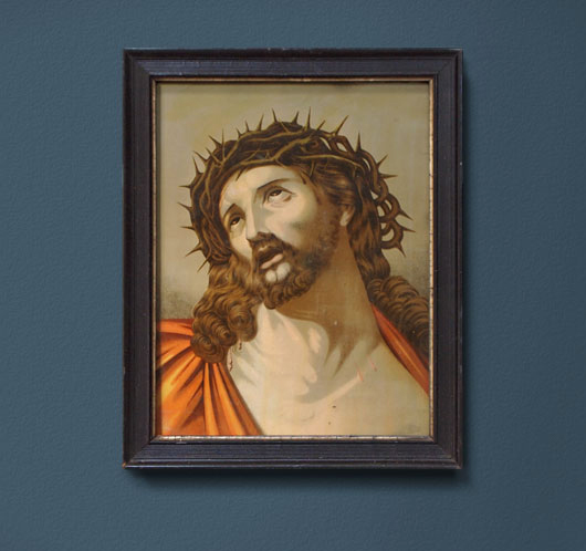 Victorian antique framed Jesus in crown of thorns print