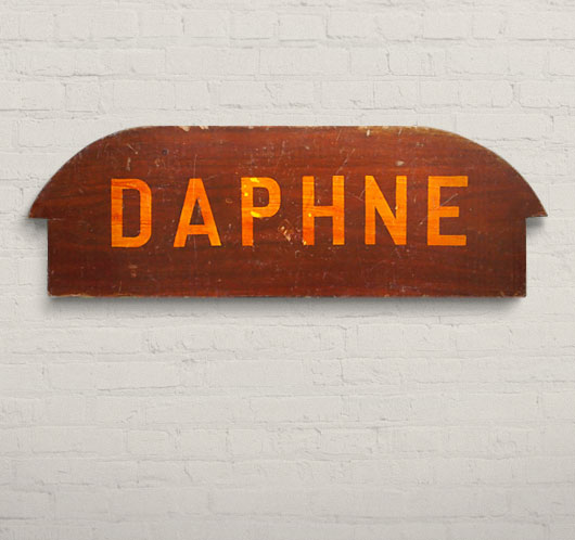 Vintage wooden rowboat seat wall hanging: 'Daphne'