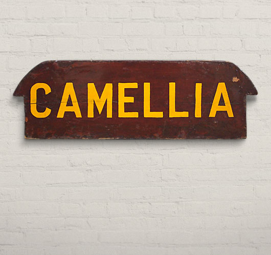 Vintage wooden rowboat seat wall hanging: 'Camellia'