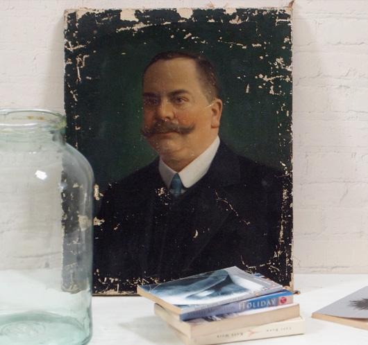 19th-century oil on canvas portrait: moustachioed gent