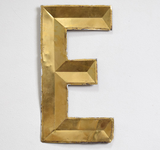 French vintage gold-gilt zinc letter 'E'
